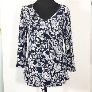 White Stag Floral Pullover Top Medium